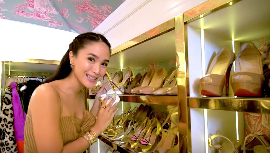 CLOSET TOUR. Heart Evangelista lets us in on her luxurious walk-in closet. Screenshot from Youtube