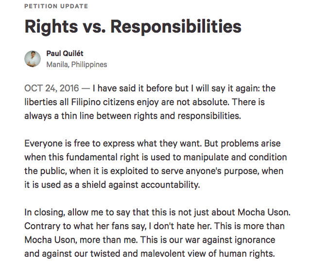 RIGHTS VS RESPONSIBILITIES. Screen shot from Change.org
