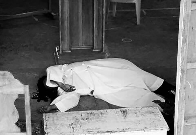 SHOT DEAD. Father Mark Ventura is killed by unidentified assailants after Sunday Mass on April 29, 2018. Photo courtesy of Gattaran Youth