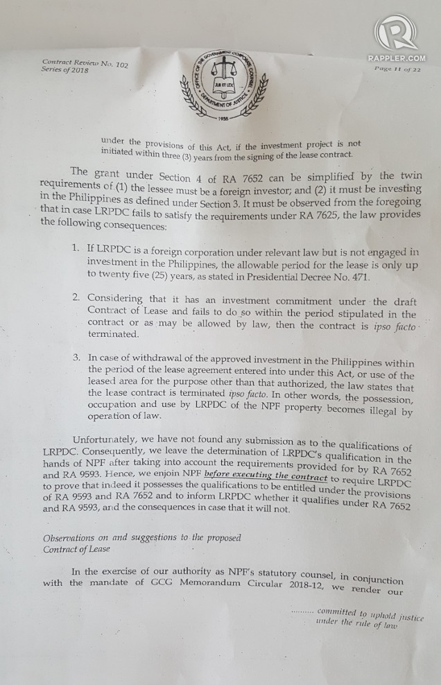 Portion of the legal review that states that LRPDC is limited to a 25-year lease if it is a foreign investor but not engaged in investment in the Philippines based on Investors' Lease Act