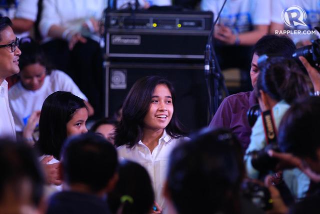 SUPPORT. Poe's daughter Hanna Llamanzares during the senator's declaration of her presidential bid in September 2015.