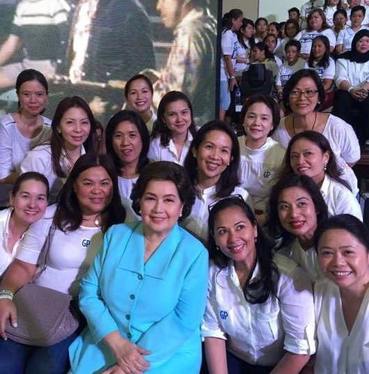 HERE FOR GRACE. High school friends with Poe's mother Susan Roces during Poe's declaration of her presidential bid in September. Photo by Malu Gamboa