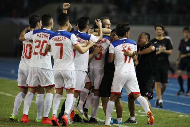 TOP DOGS. The Philippine Azkals showed they wouldn't be intimidated by playing in front of 50,000 loyal fans in Pyongyang. File photo by Josh Albelda/Rappler