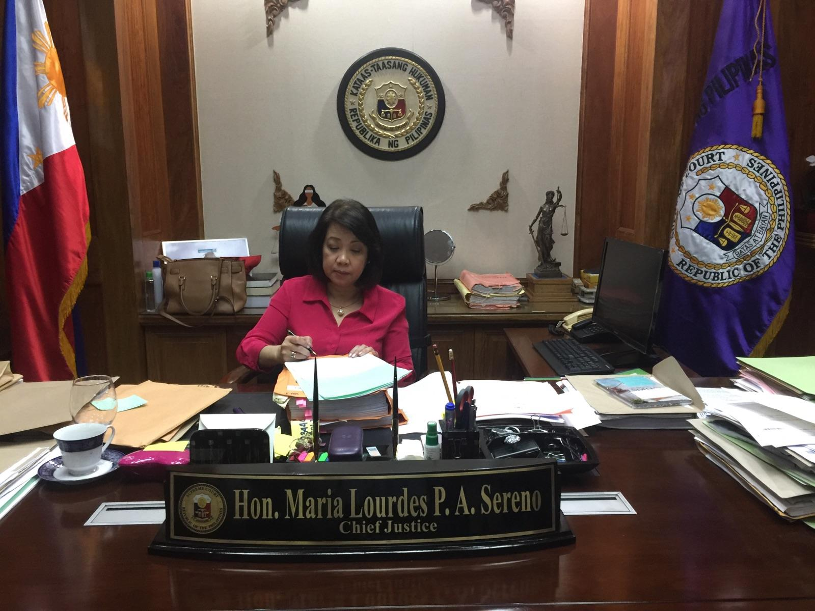 RETURN. Chief Justice Maria Lourdes Sereno ends her two-month indefinite leave and returns to the Supreme Court on May 9, 2018, or two days before her colleagues are scheduled to vote on the petition to oust her. Photo by the Office of the Chief Justice