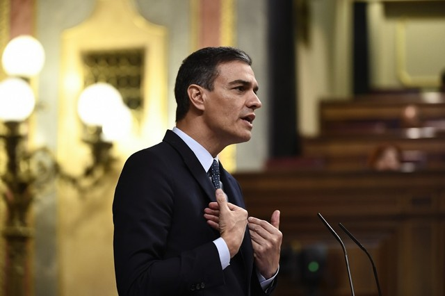 PRESSURE. Spanish Prime Minister Pedro Sanchez delivers a speech in June 2019. File photo by Oscar Del Pozo/AFP