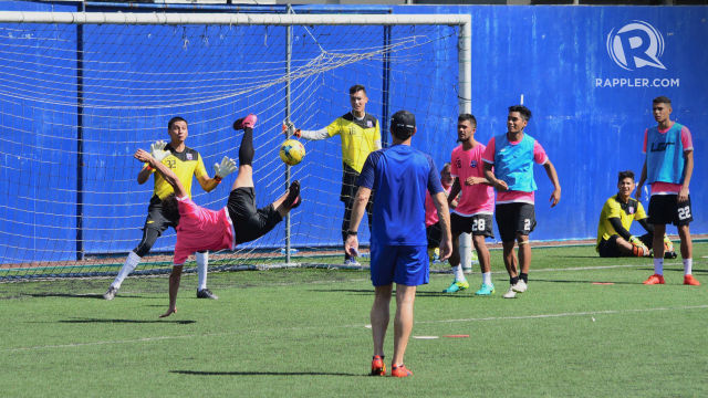 PREPARATION BUT NO PROMOTION? Misagh Bahadoran scores a volley goal in training. File photo by Bob Guerrero/Rappler