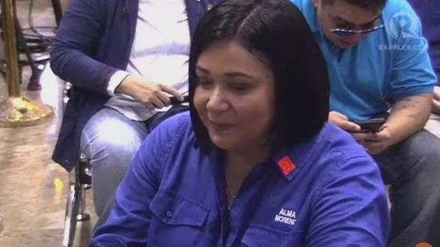 FOR WOMEN. Actress and politician Alma Moreno files her certificate of candidacy for senator. Screenshot by Rappler