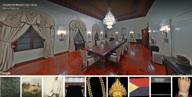 VIRTUAL TOUR. Through Museum View, netizens can take a tour through the Presidential Museum and Library using their laptops or smartphones. Google screenshot