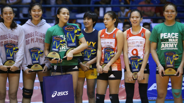 TOP PERFORMERS. The best of the latest Shakey's V-League conference were recognized. Photo by Danielle Nakpil/Rappler