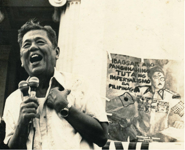 HUMAN RIGHTS DEFENDER. Statesman Jose 'Ka Pepe' Diokno during one of the anti-Martial Law demonstrations. Photo from Diokno Foundation