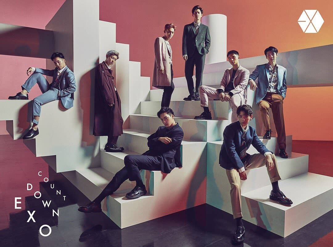 COUNTDOWN. EXO in their retro-inspired pastel look for Japanese studio album 'Countdown' cover. Screenshot from Instagram.com/weareone.exo