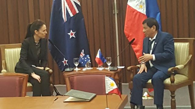 LAST BILATERAL MEETING. New Zealand Prime Minister Jacinda Ardern and President Rodrigo Duterte hold a bilateral meeting on November 14, 2017. Photo by Pia Ranada/Rappler