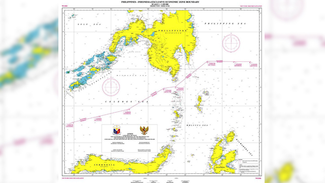 MARITIME BOUNDARY DEAL. The map shows the exclusive economic zone boundary between the Philippines and Indonesia. Photo from the Department of Foreign Affairs