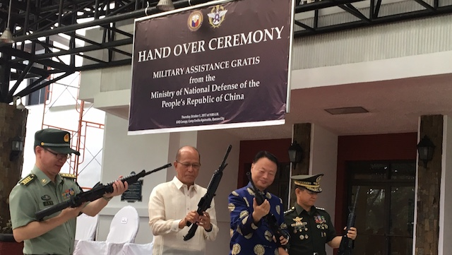 WRONG LOGO. The Philippine Department of National Defense uses the logo of Taiwan's Ministry of Defense in an event with China. Rappler photo