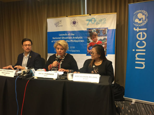 BRIEFING. (L-R) NEDA Assistant Secretary Carlo Abad Santos, UNICEF representative to the Philippines Lotta Sylwander, and DSWD Assitant Secretary Glenda Relova give a briefing on the sidelines of the launch of UNICEF's Situational Analysis of Children in the Philippines. Photo by Sofia Tomacruz
