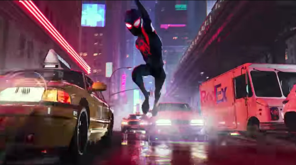 INTO THE SPIDERVERSE. The Spiderman cartoon presents the neighborhood superhero in a cool, coming-of-age way. Screenshot from Sony Pictures Entertainment