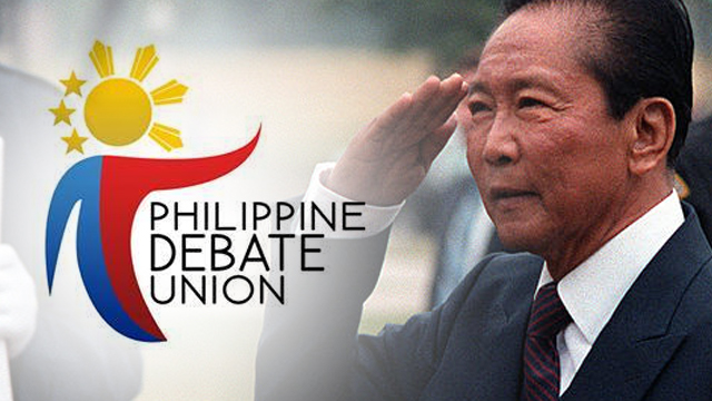 'MORALLY REPREHENSIBLE.' The Philippine Debate Union strongly opposes the planned hero's burial for the late dictator Ferdinand Marcos.