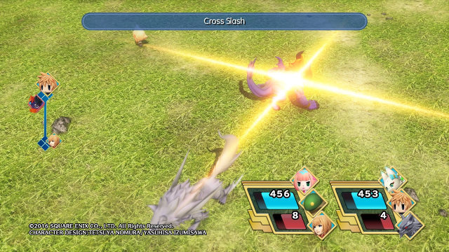 CROSS SLASH! Lann and the Fenrir mirage perform a Cross Slash attack.