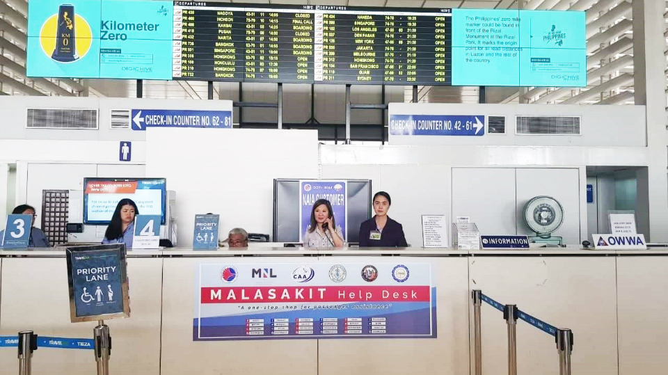 AIRPORT. The Department of Transportation sets up a Malasakit Help Desk at NAIA Terminal 2, along with 28 other commercial airports. Photo from DOTr