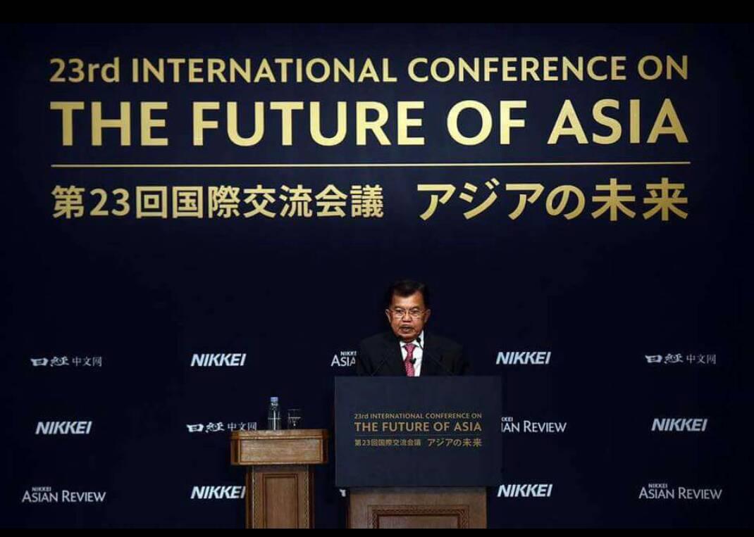 Wakil Presiden Jusuf Kalla berbicara dalam Konferensi Masa Depan Asia di Tokyo, Jepang (5/6/2017) Foto Kantor Wapres RI