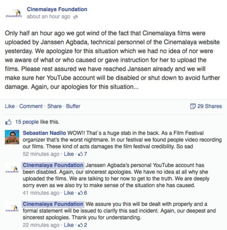 APOLOGIES. The Cinemalaya Foundation's statement in response to the unauthorized uploads. Screenshot from the Cinemalaya Foundation Facebook page