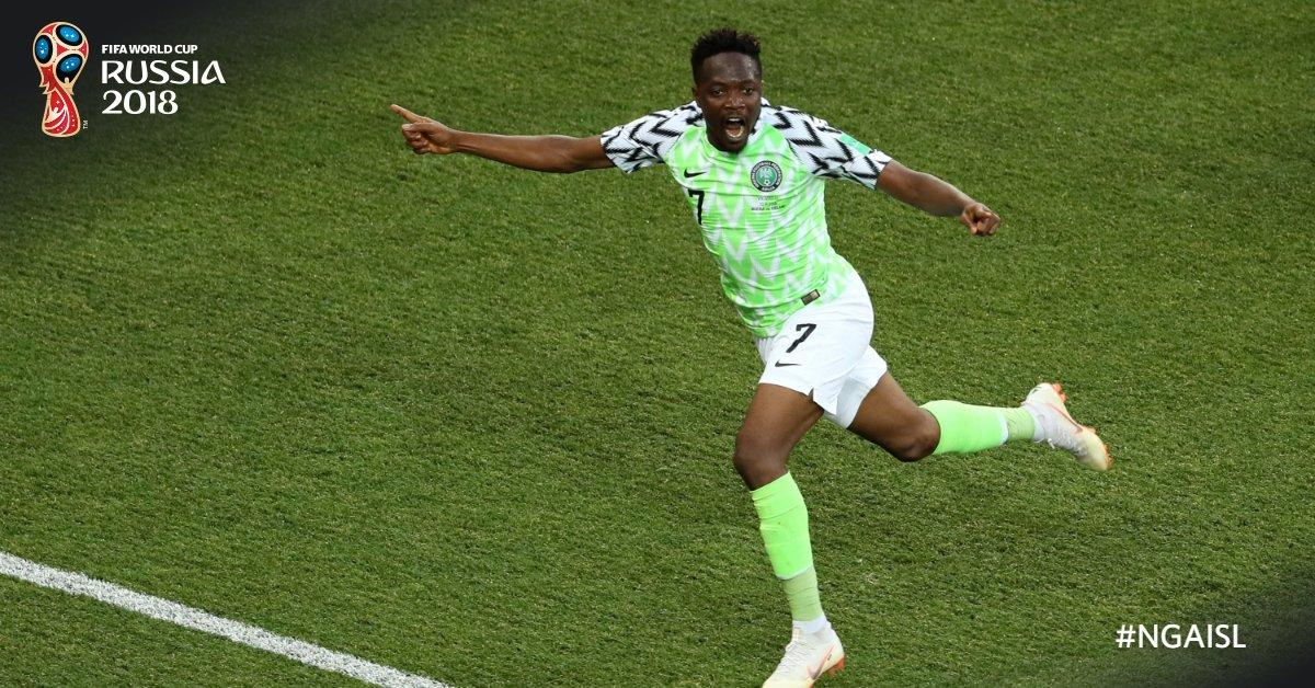 Dua gol dari Ahmed Musa membawa kemenangan untuk Nigeria. Foto dari Twitter/FIFAWorldCup