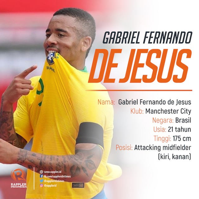 JESUS. Penyerang muda Brasil Gabriel Jesus diprediksi bersinar di Piala Dunia 2018. Infografis oleh Rappler Indonesia
