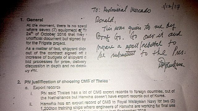 POST-IT NOTE. Defense Secretary Delfin Lorenzana asks former Philippine Navy chief Vice Admiral Ronald Mercado to respond to issues raised by Special Assistant to the President Christopher Go about the P15.5-billion project to acquire Philippine warships. Screenshot of a sourced document