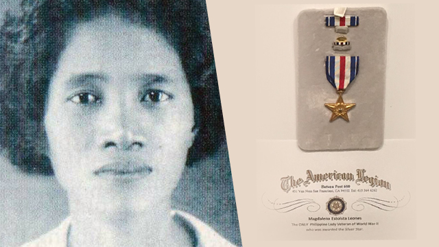 UNSUNG HERO. Magdalena Leones is the only Asian female and Filipina to receive the Silver Star Medal. Photos of Leones and medal from the US Department of Veteran Affairs