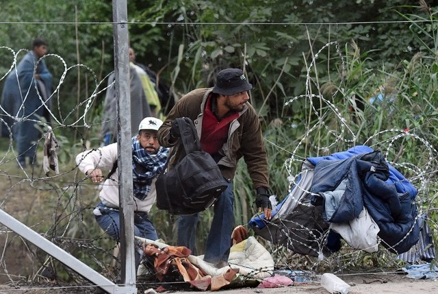 Some migrant people cross through a hole in a barbed-wire fence an they run into the forest at the Hungarian-Serbian border near Roszke, on September 10, 2015. Photo by Attila Kisbenedek/ AFP