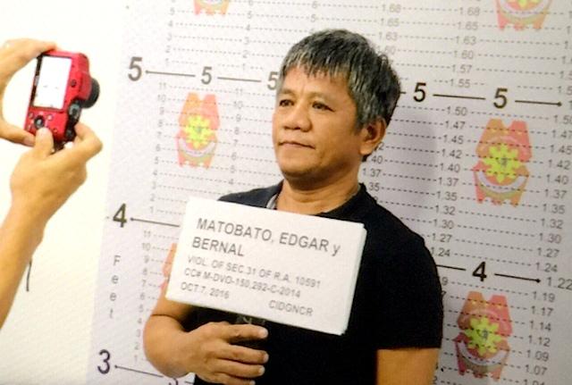 MUGSHOT. Authorities take mugshots of self-confessed hitman Edgar Matobato in Camp Crame on October 6, 2016.