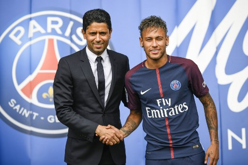 BIGGER CHALLENGE. 'I want something bigger, a greater challenge. I am here to give my best and help the club win titles,' Neymar says. Photo by Lionel Buenaventure/AFP