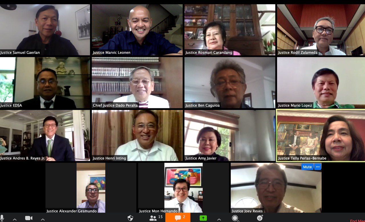 VIRTUAL. All 15 Justices of the Supreme Court are in attendance for the first ever virtual en banc session of the High Court held on April 17, 2020. Screenshot courtesy of SC Public Information Office