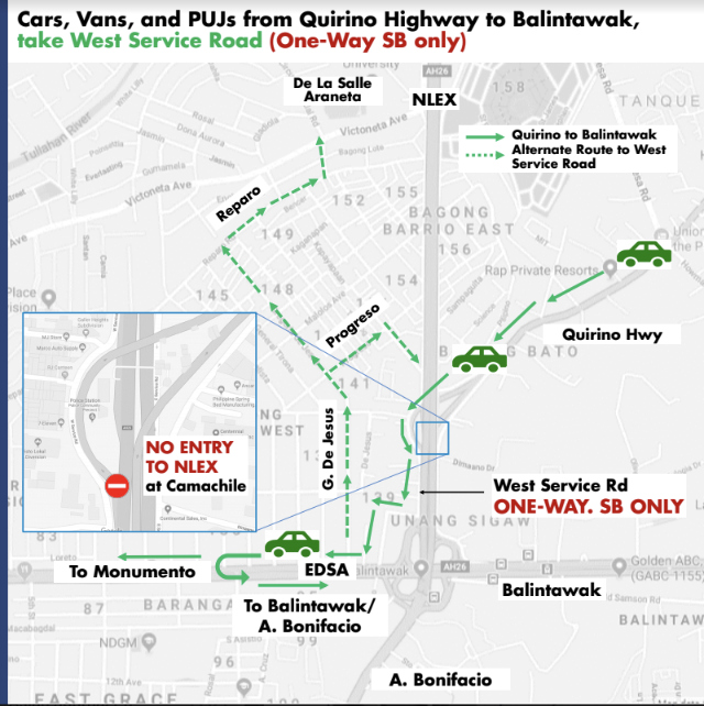 Cars, vans, PUJs from Quirino Highway to Balintawak. Photo from NLEX Corporation