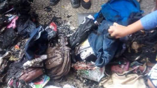 BURNT. School bags and their contents are reduced to ashes on the BCA campus grounds. Photo by Earl Vincent Cau00c3u00b1averal