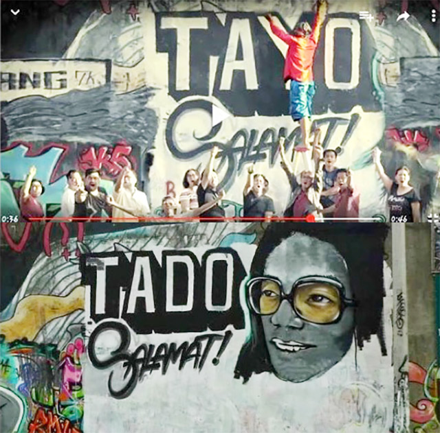 TAYO, TADO. The upper half of the photo shows a screengrab of vice presidential candidate Bongbong Marcos' political ad, while the bottom is a mural honoring Tado. Image courtesy of Dakila