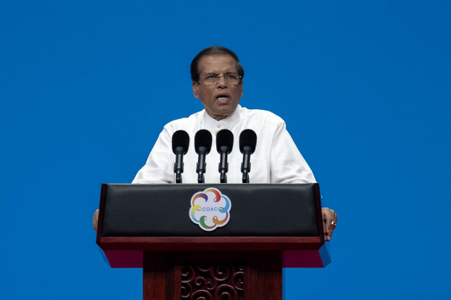FOR PEACE. Sri Lankan President Maithripala Sirisena vows to do anything to combat jihadists. File photo by Nicolas Asfouri/AFP
