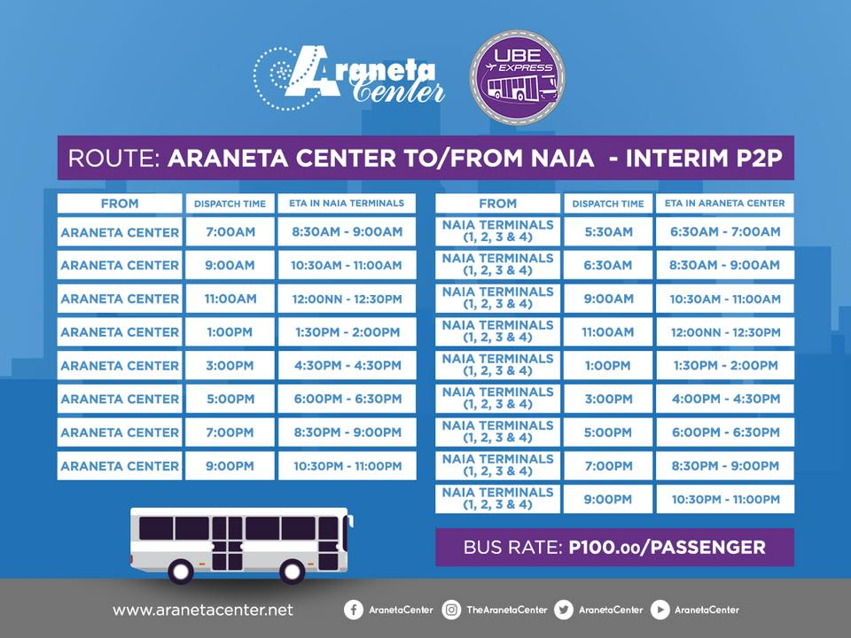 SCHEDULE. This photo shows the schedule of trips from Araneta Center to and from NAIA. Photo from Araneta Center's FB page