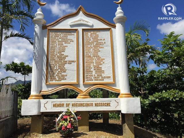 NEVER FORGET. A memorial with the names of the victims stands in Maguindanao. Photo by Rappler