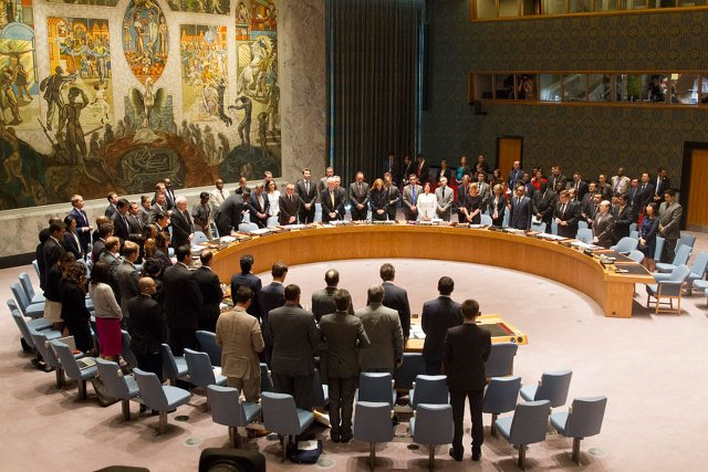 SILENCE. The UN Security Council holds a moment of silence in honour of the victims of crashed flight MH17. 18 July 2014. UN Photo/Loey Felipe