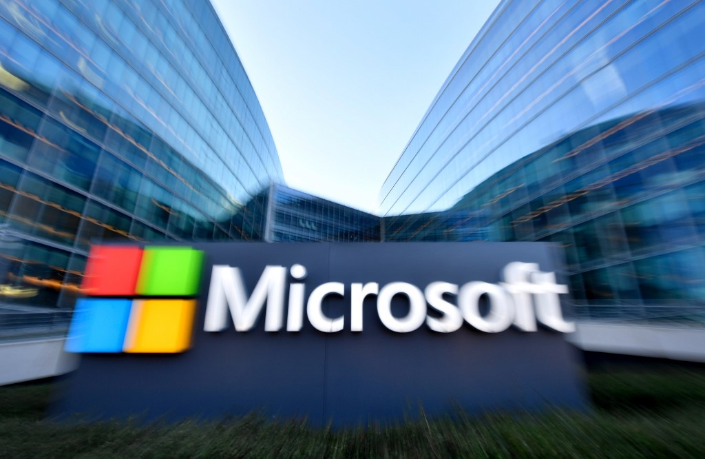MICROSOFT. The logo of French headquarters of American multinational technology company Microsoft, is pictured outside on March 6, 2018 in Issy-Les-Moulineaux, a Paris' suburb. File photo by Gerard Julien/AFP