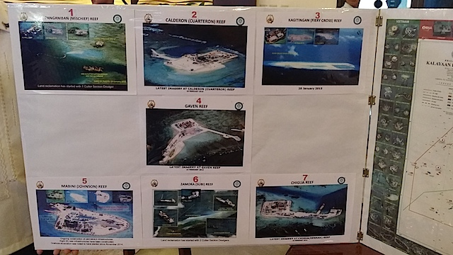 7 AREAS. Armed Forces chief General Gregorio Catapang Jr presents photos of China's reclamation projects in the West Philippine Sea. File photo
