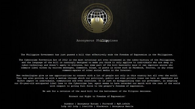 PROTEST. A screenshot of one of the defaced government websites in the Philippines in 2012.