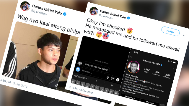 'EXCITEMENT'. Carlos Yulo creates an official Twitter account on December 3.