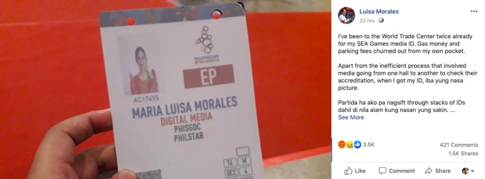 Screenshot from Luisa Morales' Facebook