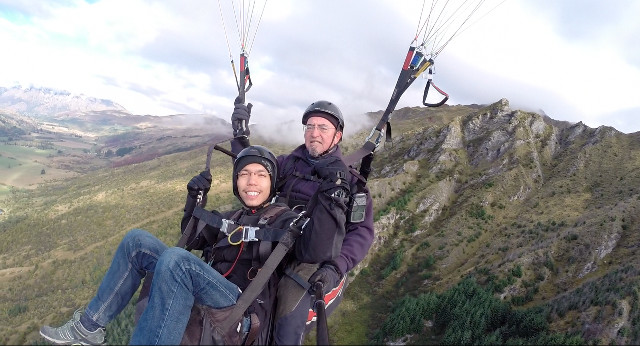 SOARING. Paragliding pilots are also skilled GoPro cameramen. Photo by Tony of Coronet Peak Tandems