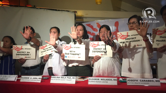 STOP. Organizations of health workers slam the harassment and threats against them under the administration of President Rodrigo Duterte. Photo by Jodesz Gavilan/Rappler