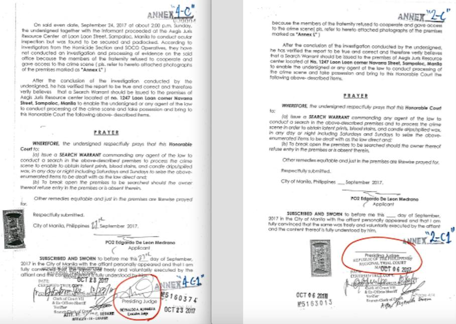 FALSIFIED? The camp of John Paul Solano shows two versions of certified true copies of the Manila Police District's application for search warrant. The earlier version has no signature of the judge, while a signature appears on the second. Photos courtesy of Solano camp