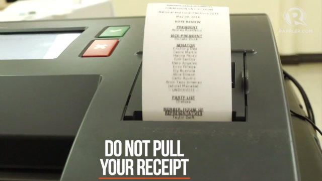 VOTERS RECEIPT. Your receipt will be printed by the VCM. Do not pull or yank it.