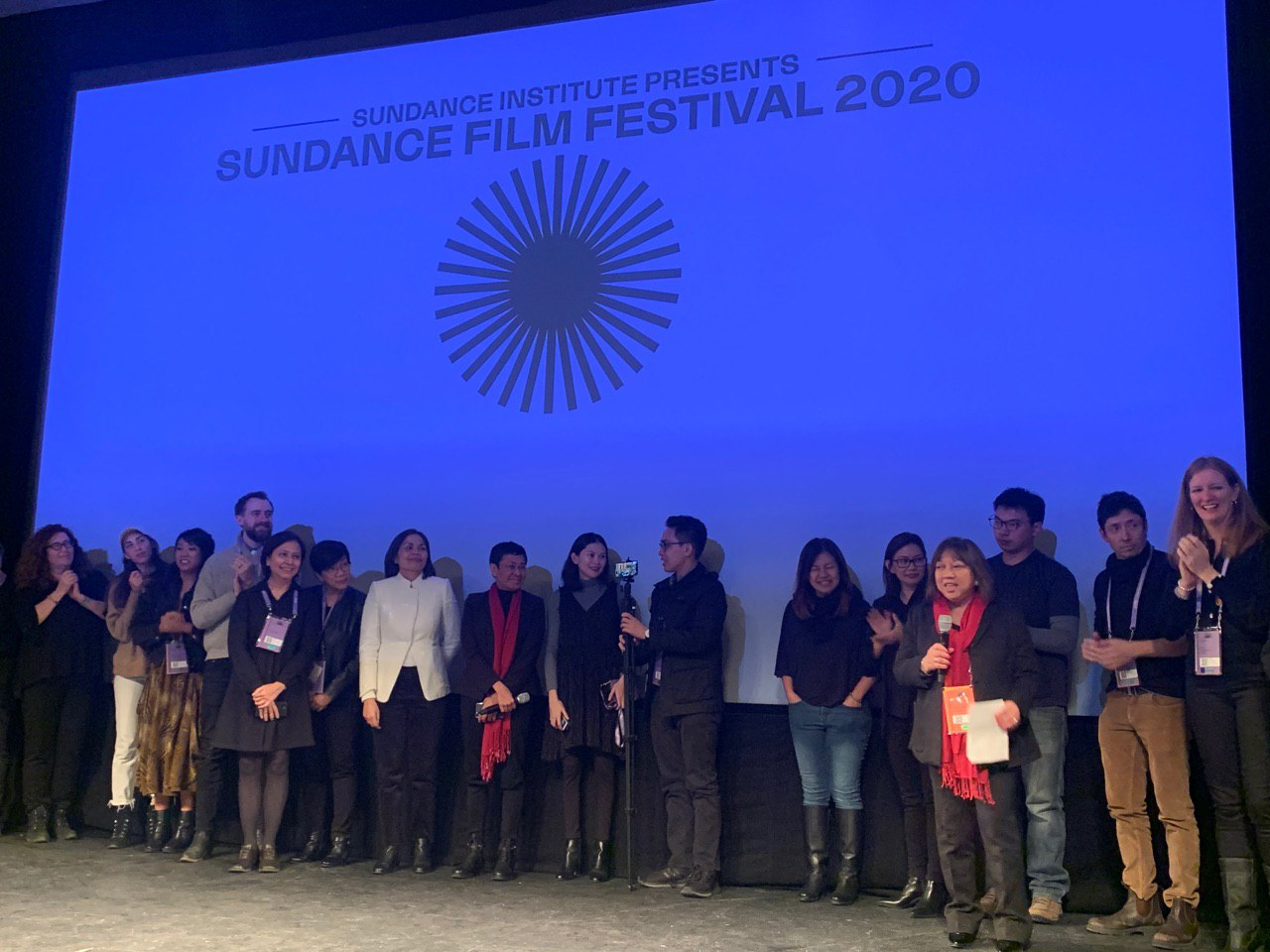 SUNDANCE. The crew and cast of 'A Thousand Cuts' after the film's premiere. Photo by Camille Elemia/Rappler